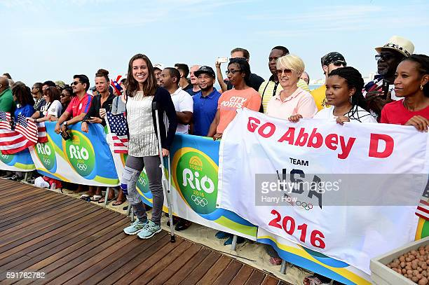 Abbey D'Agostino of the United States smiles on the Today show set on Copacabana Beach on August 18 2016 in Rio de Janeiro Brazil