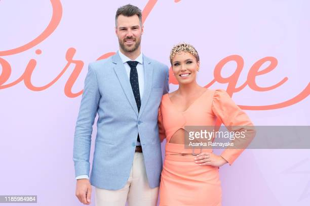 Abbey Holmes and Keegan Brooksby attend Oaks Day at Flemington Racecourse on November 07 2019 in Melbourne Australia