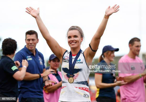 Abbey Holmes of the Crows celebrates during the 2017 AFLW Grand Final match between the Brisbane Lions and the Adelaide Crows at Metricon Stadium on...