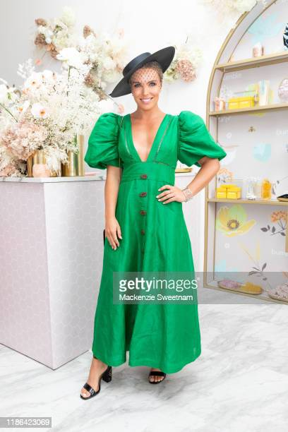 Abbey Holmes poses in the Bumble marquee on Stakes Day at Flemington Racecourse on November 09 2019 in Melbourne Australia