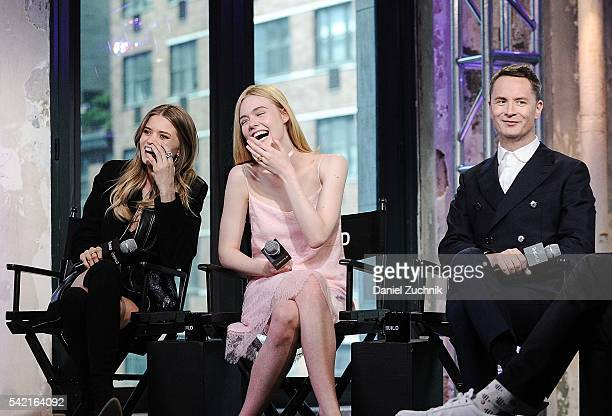 Abbey Lee Elle Fanning and director Nicolas Winding Refn attend AOL Build to discuss the film 'The Neon Demon' at AOL Studios on June 22 2016 in New...