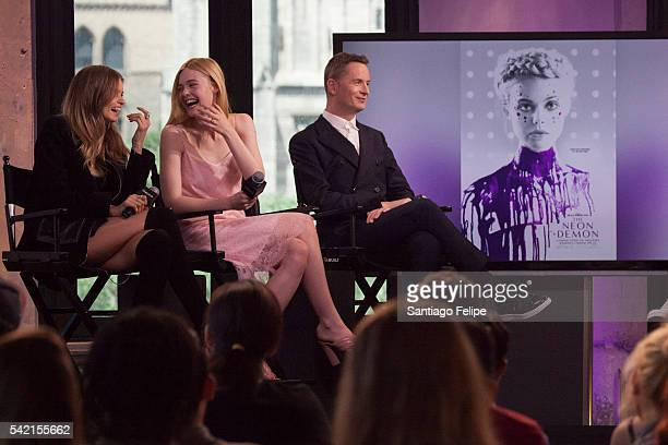 Abbey Lee Elle Fanning and Nicolas Winding Refn attend AOL Build Presents 'The Neon Demon' at AOL Studios In New York on June 22 2016 in New York City