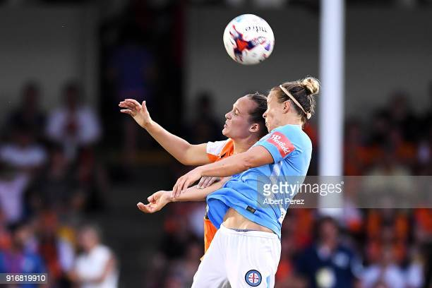 Abbey Lloyd of the Roar and Aivi Luik of Melbourne City compete for the ball during the WLeague Semi Final match between the Brisbane Roar and...