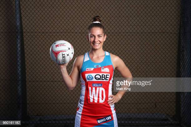 Abbey McCulloch of the NSW Swifts poses during the Suncorp Super Netball 2018 season launch on April 23 2018 in Sydney Australia