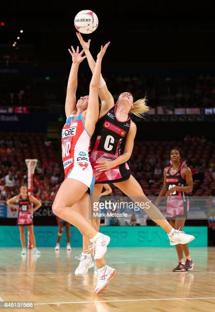 Abbey McCulloch of the Swifts and Gia Abernethy of the Thunderbirds contest possession during the round two Super Netball match between the Sydney...