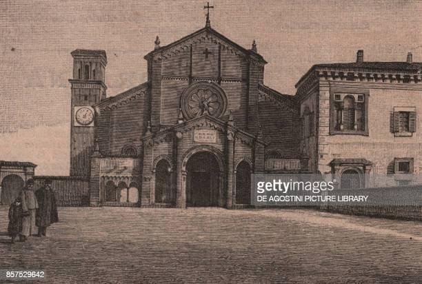Abbey of Chiaravalle della Colomba Alseno Emilia Romagna Italy woodcut from Le cento citta d'Italia illustrated monthly supplement of Il Secolo Milan...