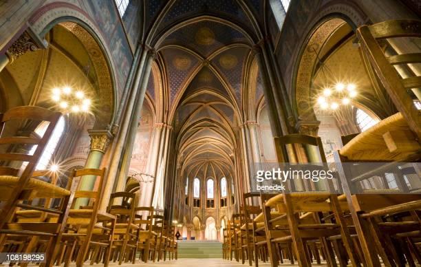 abadia de saint-germain-des-prés igreja em paris - abadia mosteiro - fotografias e filmes do acervo
