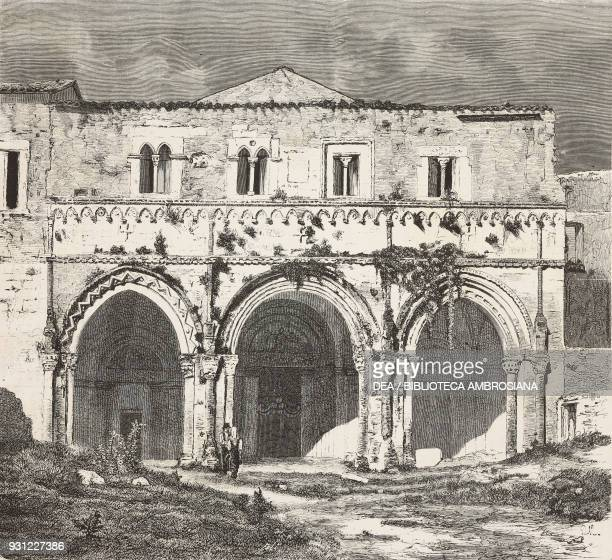 Abbey of St Clement Casauria Abruzzo drawing by Francesco Paolo Michetti engraving from L'Illustrazione Italiana Year 3 No 6 December 5 1875