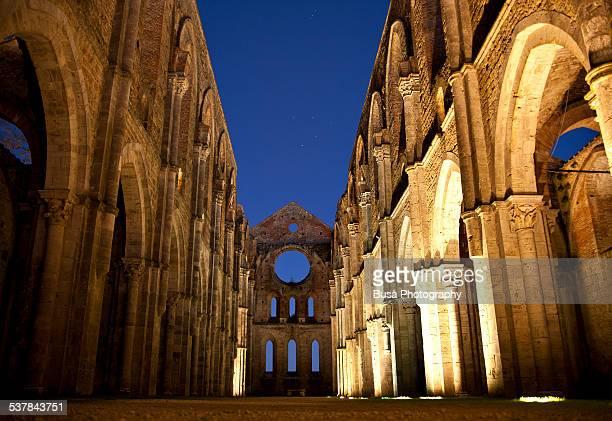 Abbey of St. Galgan (San Galgano) at dusk