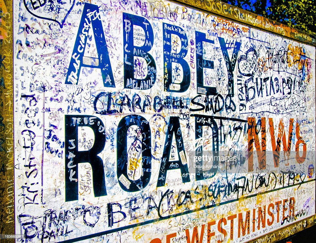 Abbey Road road sign, London : Stock Photo