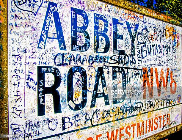 abbey road road sign, london - abbey road stock photos and pictures
