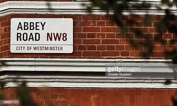 Abbey Road street sign near the Abbey Road Studios on October 19 2012 in London United Kingdom