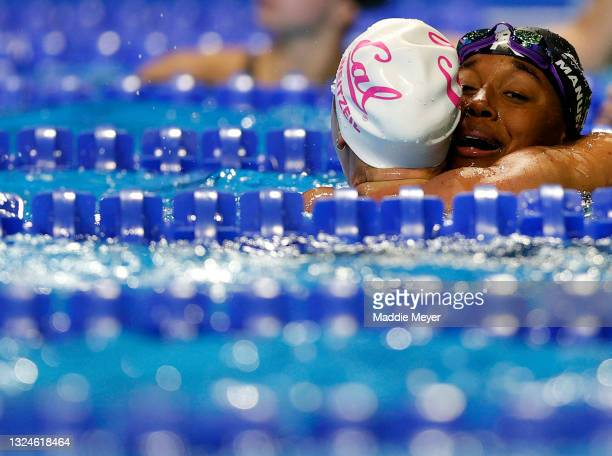 Abbey Weitzeil and Simone Manuel of the United States react after competing in the Women's 50m freestyle final during Day Eight of the 2021 U.S....