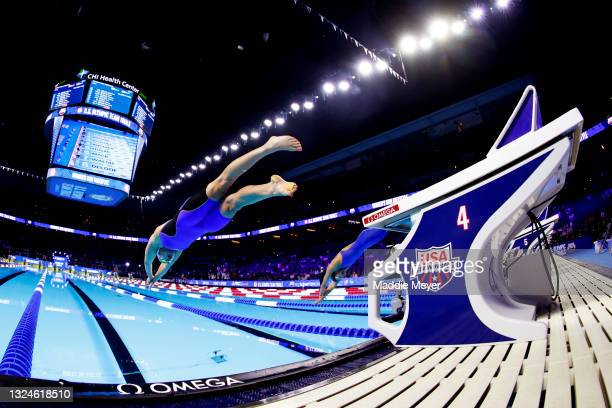 Abbey Weitzeil of the United States competes in the Women's 50m freestyle final during Day Eight of the 2021 U.S. Olympic Team Swimming Trials at CHI...