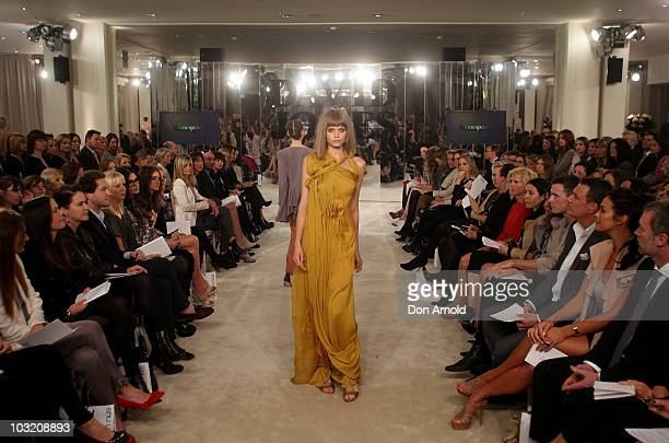 AbbeyLee Kershaw wears designs by Bianca Spender on the catwalk during the David Jones Spring/Summer 2010 Season Launch at David Jones Elizabeth...