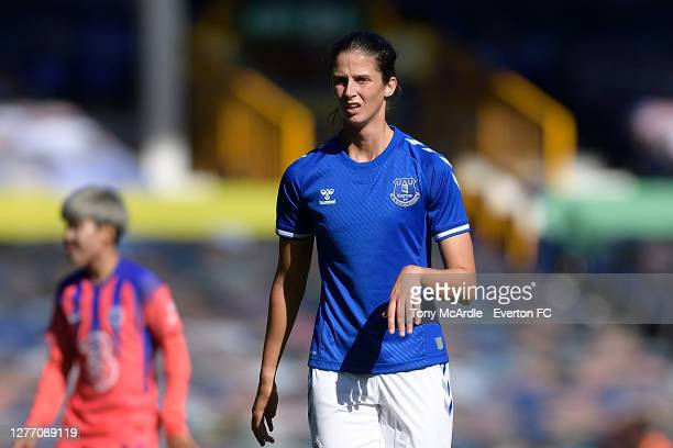 AbbeyLeigh Stringer of Everton Women during the Women's FA Cup Quarter Final match between Everton and Chelsea at Goodison Park on September 27 2020...