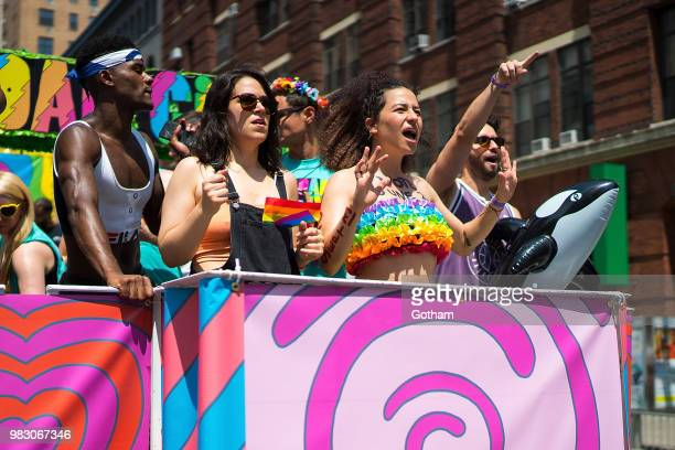 Abbi Jacobson and Ilana Glazer attend the 2018 New York City Pride March on June 24 2018 in New York City