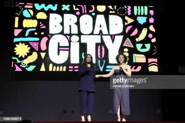 Abbi Jacobson and Ilana Glazer speak onstage at Comedy Central's 'Broad City' season five premiere party at Stage 48 on January 22 2019 in New York...