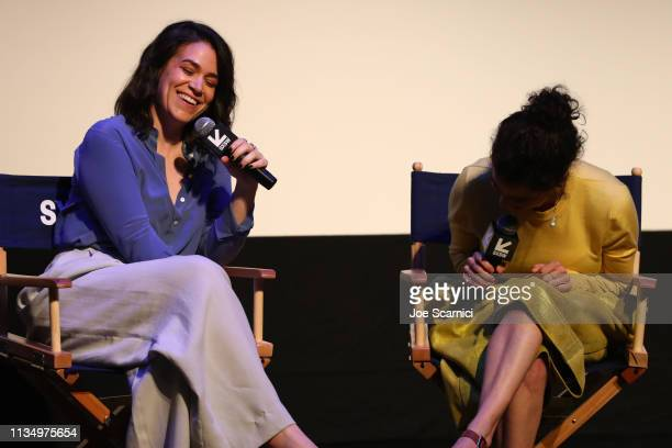 Abbi Jacobson and Ilana Glazer speak onstage at Comedy Central's 'Broad City' series finale screening at SXSW iˆˆn Austin TX at ZACH Theatre on March...