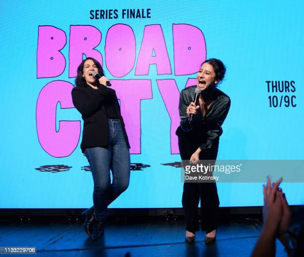 Abbi Jacobson and Ilana Glazer suprise guests at the Comedy Central's Broad City Fan Finale Event at Sony Hall on March 27 2019 in New York City