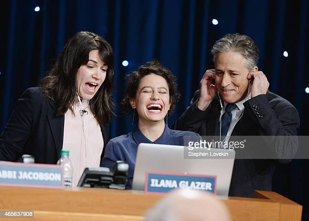 Abbi Jacobson Ilana Glazer and Jon Stewart attend The Night Of Too Many Start Live Telethon on March 8 2015 in New York City