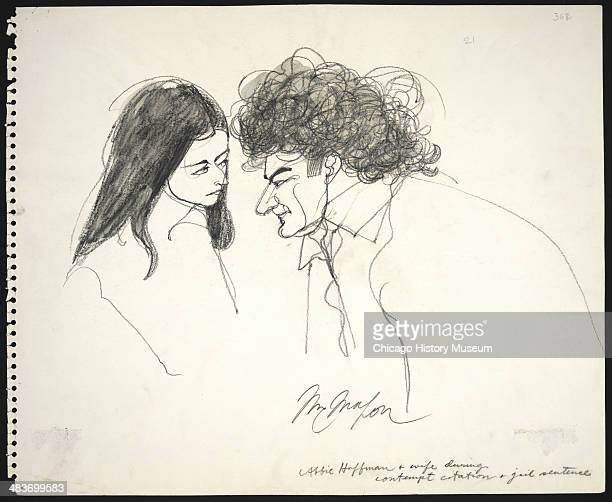 Abbie and Anita Hoffman looking at each other during sentencing in a courtroom illustration during the trial of the Chicago Eight Chicago Illinois...