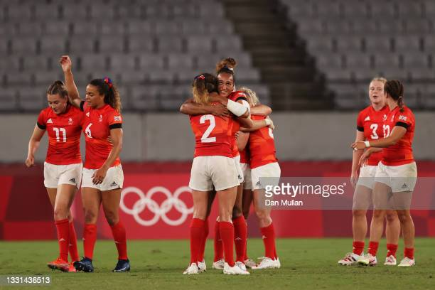 Abbie Brown and Celia Quansah of Team Great Britain celebrate after defeating Team United States in the Women's Quarter Final match between Team...