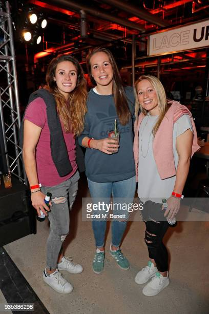 Abbie Brown Emily Scarratt and Natasha Hunt attend the new adidas store launch event in Westfield London's £600m expansion The new adidas store is...