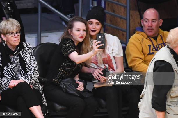 Abbie Cobb and Aqueela Zoll attend a basketball game between the Los Angeles Lakers and the Detroit Pistons at Staples Center on January 09 2019 in...
