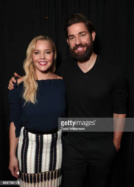 Abbie Cornish and John Krasinski are interviewed on stage at Amazon Prime Video's Tom Clancy's Jack Ryan Comic Con 2017 Panel at The Jacob K Javits...