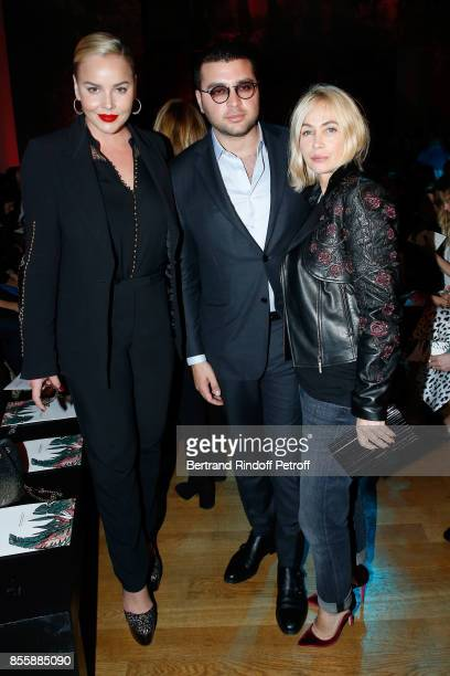 Abbie Cornish Elie Saab Jr and Emmanuelle Beart attend the Elie Saab show as part of the Paris Fashion Week Womenswear Spring/Summer 2018 on...