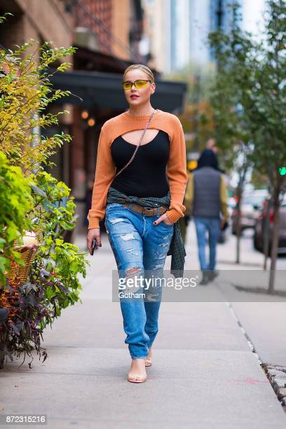 Abbie Cornish is seen wearing a Wolford sweater and a Balmain shirt and Mr Completely jeans in Tribeca on November 9 2017 in New York City