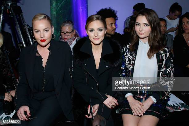 Abbie Cornish Olivia Palermo and Emily Robinson attend the Elie Saab show as part of the Paris Fashion Week Womenswear Spring/Summer 2018 on...