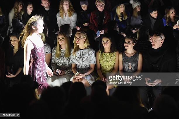 Abbie Cornish Petra Nemcova Annet Mahendru Sami Gayle and Robert Verdi attend the Herve Leger By Max Azria Fall 2016 fashion show during New York...