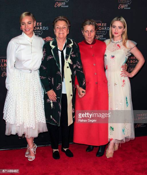 Abbie Cornish Sandy Martin Frances McDormand and Kathryn Newton attend the premiere of Three Billboards Outside Ebbing Missouri on November 7 2017 in...