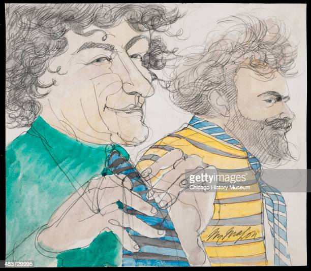 Abbie Hoffman and Jerry Rubin wearing ties in a courtroom illustration during the trial of the Chicago Eight Chicago Illinois late 1969 or early 1970...