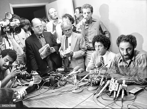 Abbie Hoffman at a news conference circa 1980 in New York City