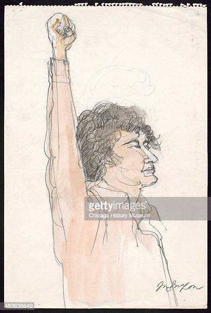 Abbie Hoffman fist raised in a courtroom illustration during the trial of the Chicago Eight Chicago Illinois late 1969 or early 1970 The Eight or...