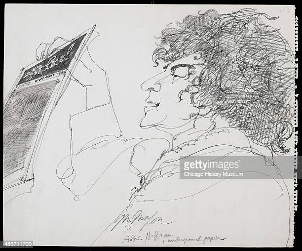 Abbie Hoffman holding underground newspaper in a courtroom illustration during the trial of the Chicago Eight Chicago Illinois late 1969 or early...