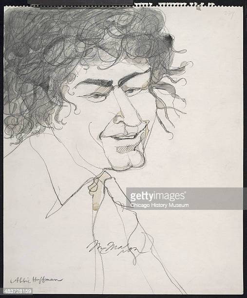 Abbie Hoffman in a courtroom illustration during the trial of the Chicago Eight Chicago Illinois late 1969 or early 1970 The Eight or Seven as they...