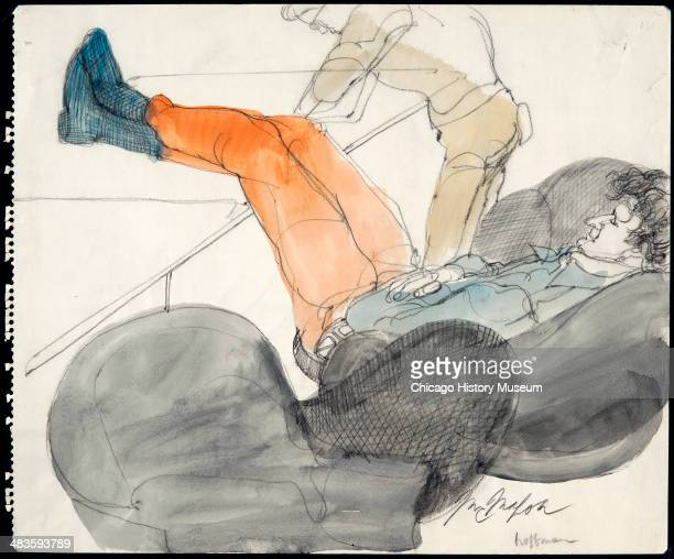 Abbie Hoffman lounging in a courtroom illustration during the trial of the Chicago Eight Chicago Illinois late 1969 or early 1970 The Eight or Seven...