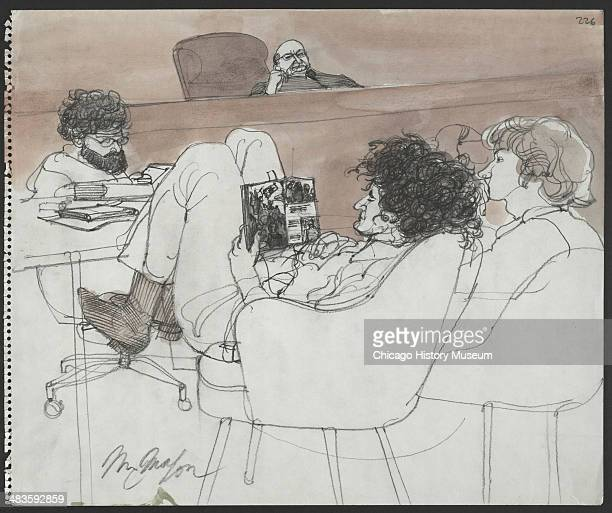 Abbie Hoffman reading a magazine in a courtroom illustration during the trial of the Chicago Eight Chicago Illinois late 1969 or early 1970 The Eight...