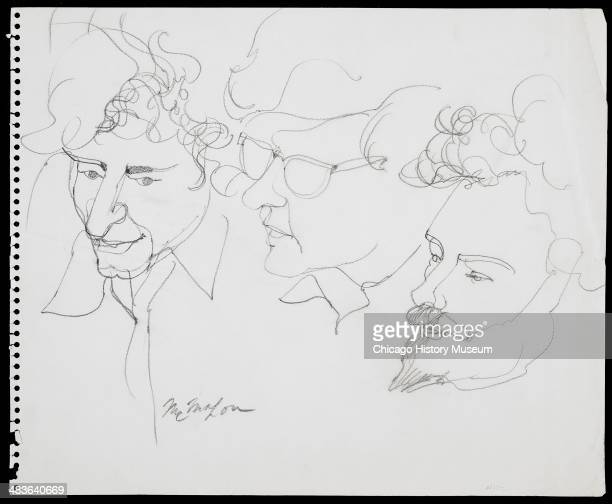 Abbie Hoffman Rennie Davis and Jerry Rubin in a courtroom illustration during the trial of the Chicago Eight Chicago Illinois late 1969 or early 1970...