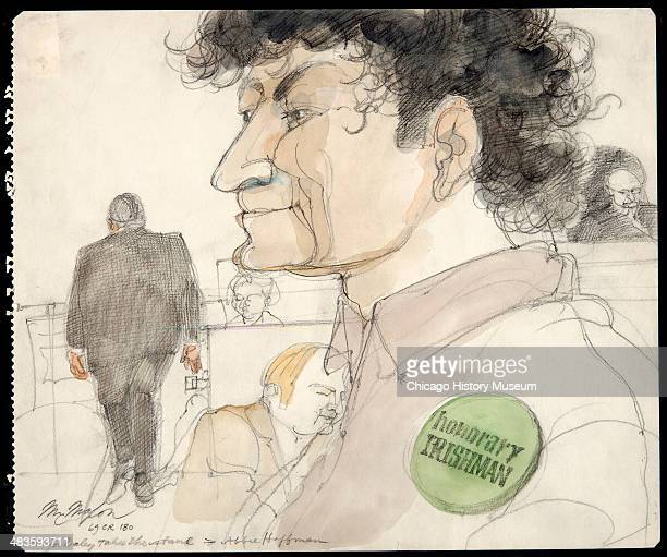 Abbie Hoffman wearing honorary Irishman pin as Mayor Richard Daley takes stand in a courtroom illustration during the trial of the Chicago Eight...