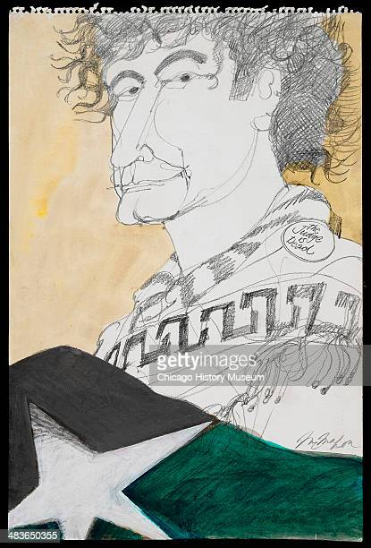 Abbie Hoffman wearing 'Judge is Dead' button in a courtroom illustration during the trial of the Chicago Eight Chicago Illinois late 1969 or early...