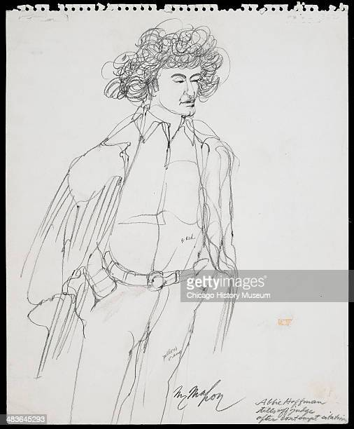 Abbie Hoffman wearing judge's robe addressing judge in a courtroom illustration during the trial of the Chicago Eight Chicago Illinois late 1969 or...