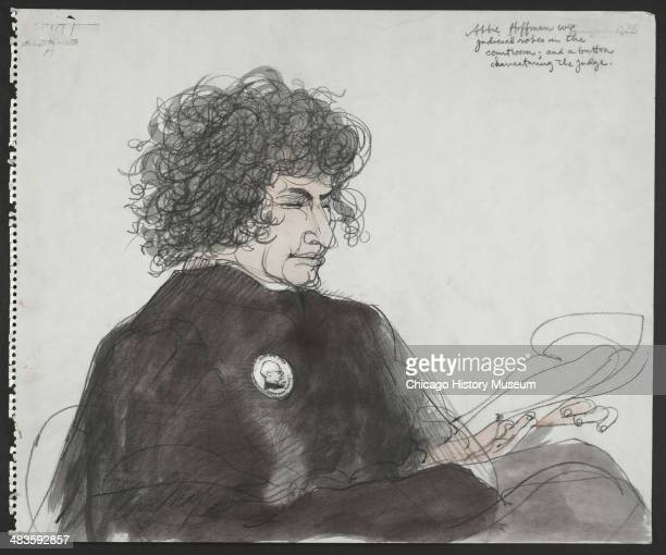 Abbie Hoffman wearing judicial robe in a courtroom illustration during the trial of the Chicago Eight Chicago Illinois late 1969 or early 1970 The...