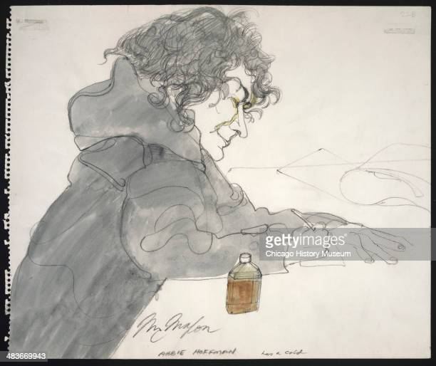 Abbie Hoffman with cold medicine in a courtroom illustration during the trial of the Chicago Eight Chicago Illinois late 1969 or early 1970 The Eight...