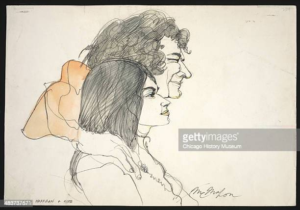 Abbie Hoffman with his arm around Anita Hoffman in a courtroom illustration during the trial of the Chicago Eight Chicago Illinois late 1969 or early...