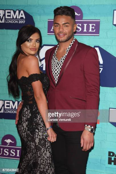 Abbie Holborn and Nathan Henry attend the MTV EMAs 2017 held at The SSE Arena Wembley on November 12 2017 in London England
